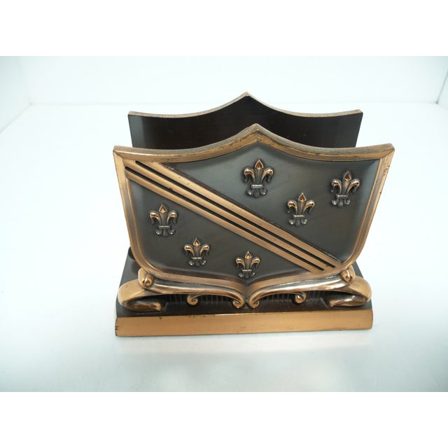 French Fleur De Lis Copper Finish Letter Holder - Image 6 of 7