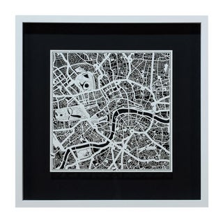 Sarreid Ltd. London Framed & Matted Map