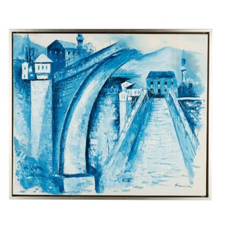 French Signed Blue & White Oil Painting