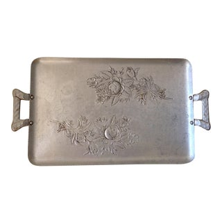 Vintage Etched Hammered Metal Roses Tray