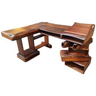 1970's California Craft Redwood Desk
