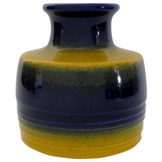 Vintage 1960s West German Blue & Yellow Vase