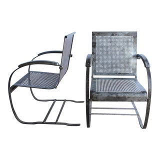 1930s American Metal Garden Lounge Chairs