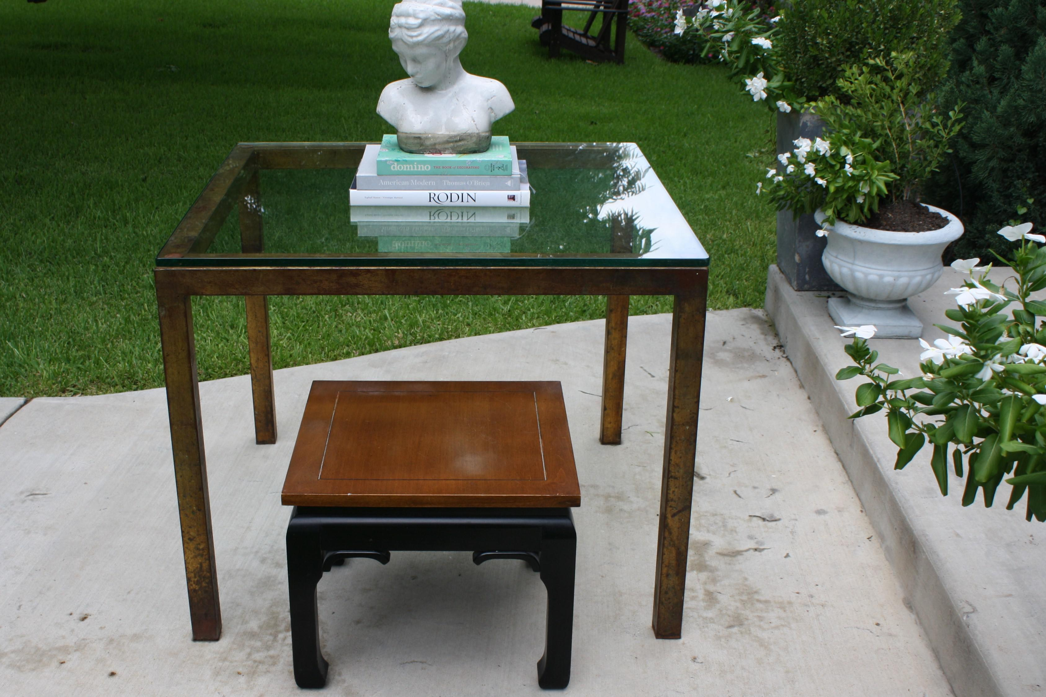 Vintage Modernist Gilt Metal Parsons Table With Thick Glass Top   Image 10  Of 10