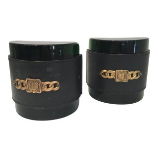 Black Leather Wrap Book Ends - A Pair