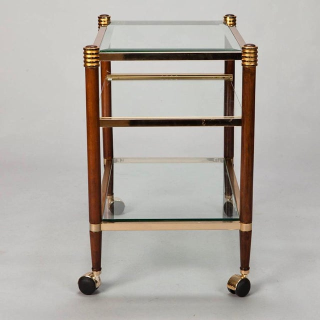 Mid-Century Italian Brass Glass and Polished Wood Trolley Table or Bar Cart - Image 7 of 8