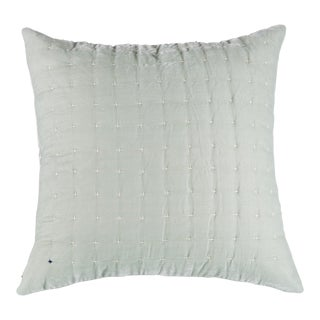 Mint Embroidered Silk Velvet Pillow