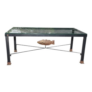 Wrought Iron & Glass Fish Motif Patio Coffee Table