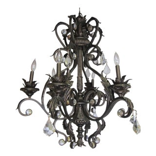 6 Arm Scroll Acanthus Leaf Crystal Chandelier