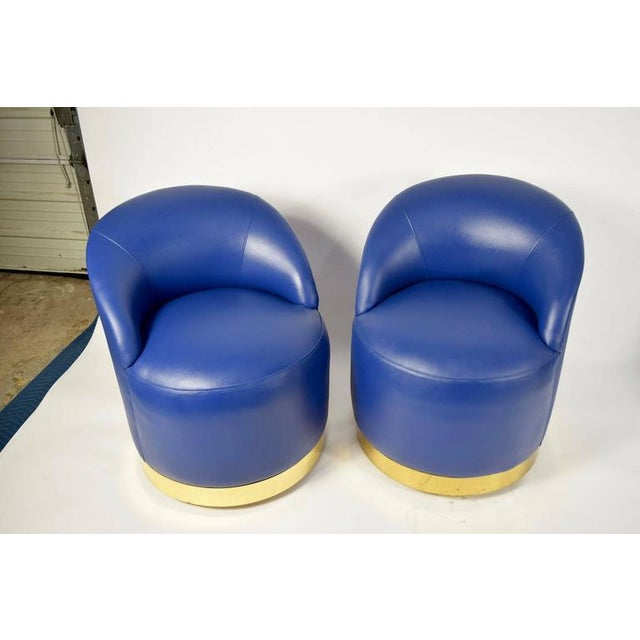 Karl Springer Style Chairs in Blue Leather with Brass Finish Base on Casters - Image 6 of 7