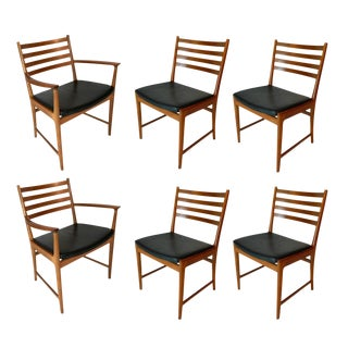 Set of Six Teak and Leather Dining Chairs by Kai Lyngfeldt Larsen for Vejen