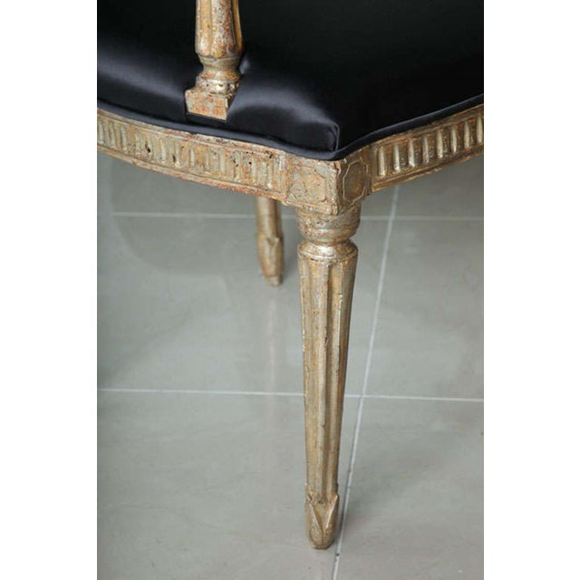 Rare Set of Four Italian Neoclassic Silver Gilt Armchairs - Image 4 of 8