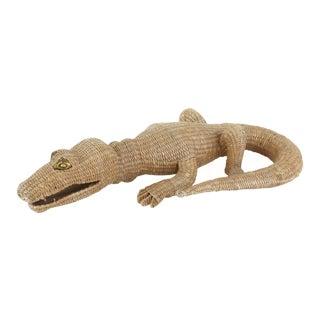 1970s, Mid-Century Mario Lopez Torres Wicker Crocodile