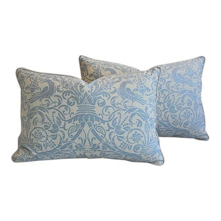 """26"""" X 18"""" Custom Tailored Italian Fortuny Uccelli Feather/Down Pillows - a Pair"""