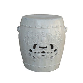 Chinese Clay White Lotus Garden Stool/Ottoman