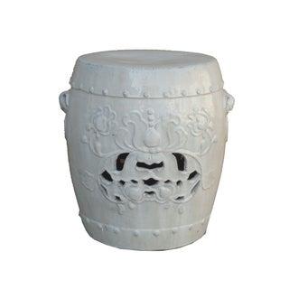 Chinese Clay White Lotus Garden Stool/Ottoman