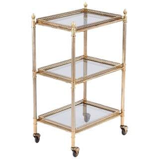 French Mid-Century Brass Three-Tier Bar Cart