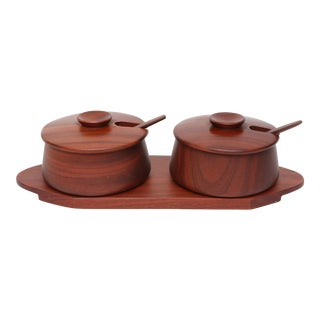 Vintage Danish Mid Century Modern Teak Condiment Server Set