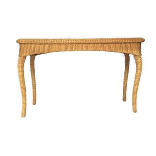 Vintage Wicker Console Table Bohemian Rattan Sofa Table