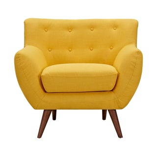 Mid-Century Modern Tufted Yellow Chair