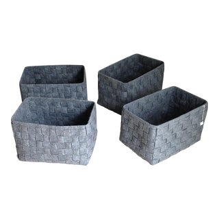 Gray Felt Woven Basket - Set of 4