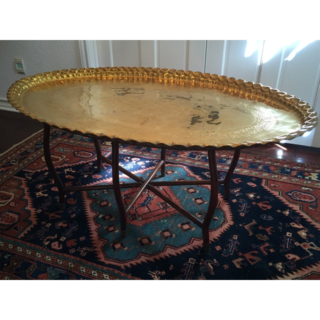 Large Oval MCM Brass Tray Coffee Table - Image 3 of 10