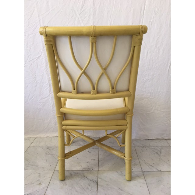 Vintage Daffodil Yellow Rattan Dining Chairs - Set of 6 - Image 7 of 11