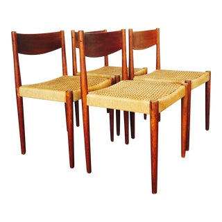 Danish Mid Century Frem Rojle Rope and Teak Dining Chairs - Set of 4