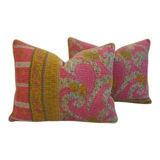 Vintage Kantha Textile Pillows - a Pair
