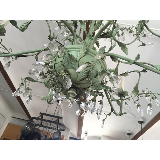 Image of Tole Verdigris Iron and Crystal Chandelier