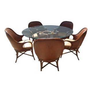 Glass, Bamboo, Rattan, and Leather Dining Table and Chairs - Set of 6