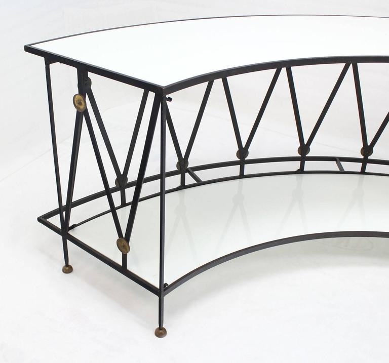 Gorgeous Wrought Iron Brass Milk Glass Half Round Bar Serving Table   Image  7 Of 10