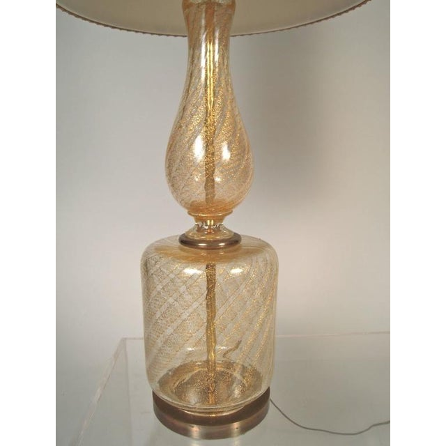 Large Elegant Pair of Venetian Gold and Clear Blown Glass Lamps - Image 4 of 7