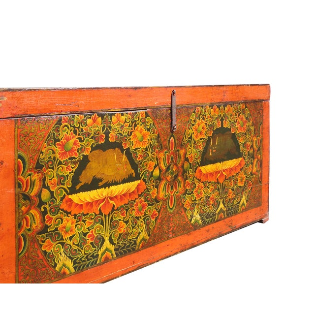 Antique Tibetan Elm Wood Graphic Storage Trunk - Image 6 of 7