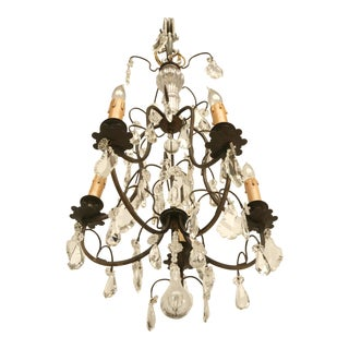 French Vintage Five-Light Bronze Chandelier