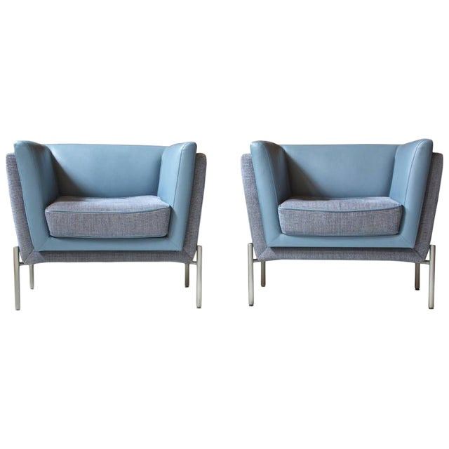 Pair of Two-Tone Grey Wool and Blue Leather 'LAP' Club Chairs by Brueton, 1980 - Image 1 of 6