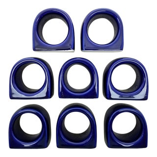 Glazed Ceramic Napkin Rings - Set of 8