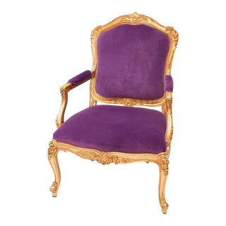 Louis XVI Style Gilded Arm Chair in Purple Velvet