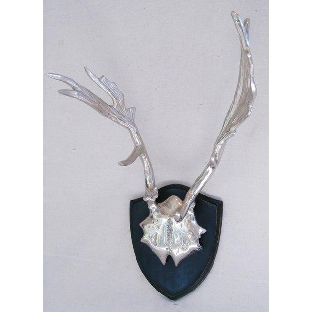 Faux Mounted Stainless Steel Deer Trophy Antlers - Image 7 of 7
