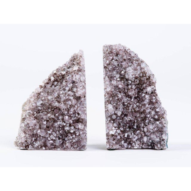 Pair of Organic Amethyst Crystal and Geode Bookends - Image 4 of 9