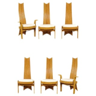 Exquisite Set of Six Modern Rattan Dining Chairs in the Mackintosh Style