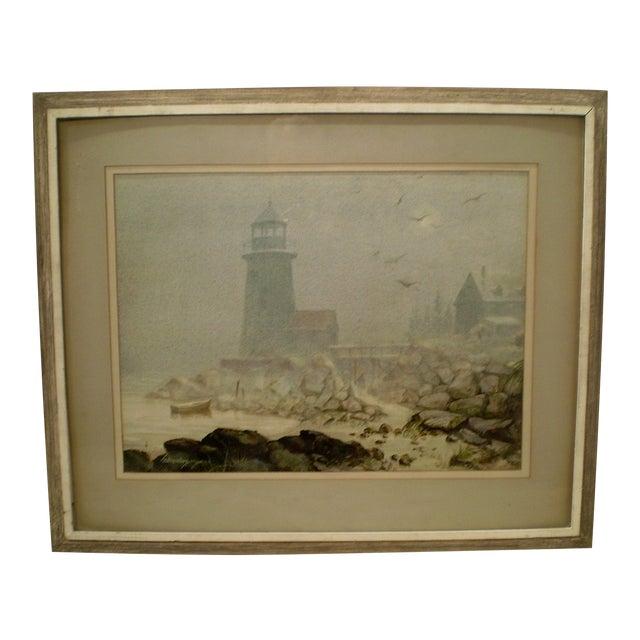 Annisquam Lighthouse Cape Ann Watercolor - Image 1 of 6