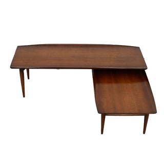 Mid-Century Walnut Expandable 'Switchblade' Coffee Table