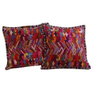 Guatemalan Pink and Orange Cushion Cases - Pair