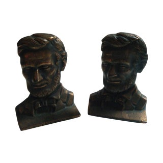 Vintage Abraham Lincoln Iron & Brass Bookends