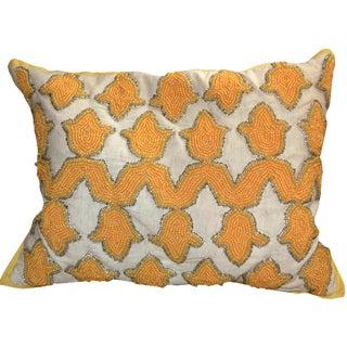 Golden Lotus Beaded Indian Throw Pillow