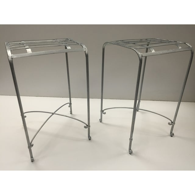Italian Galvanized Iron Counter Stools - A Pair - Image 2 of 6