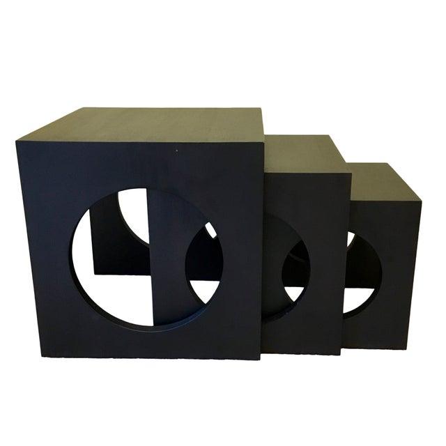 Modern Black Wood Nesting Tables - Set of 3 - Image 2 of 6