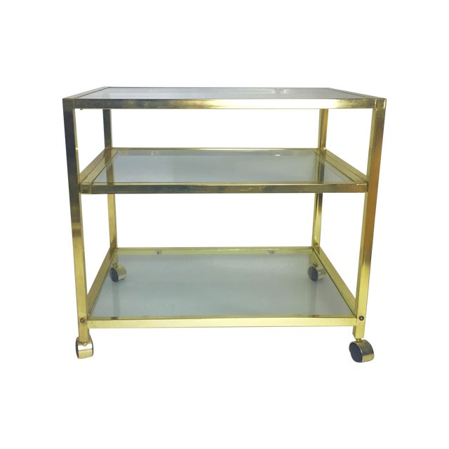 Vintage Brass & Glass End Cart Table - Image 1 of 11