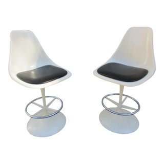 Saarinen Style Tulip Swivel Bar Stools - A Pair